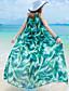preiswerte Maxi-Kleider-Damen Kleid-Swing Boho Druck Maxi Polyester Rundhalsausschnitt
