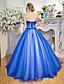 baratos Vestidos de Noite-De Baile / Princesa Sem Alças Longo Tule Inspiração Vintage Evento Formal Vestido com Lantejoulas / Detalhes em Cristal de