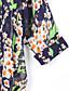저렴한 봄 아웃웨어-여성의 프린트 라운드 넥 ¾ 소매 블라우스,빈티지 / 심플 캐쥬얼/데일리 블루 폴리에스테르 중간