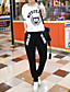 billige Hættetrøjer og sweatshirts til damer-Dame Sport Aktiv Aktiv beklædning sæt Trykt mønster Rund hals Rayon Mikroelastisk Langærmet Efterår