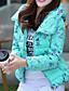 コート ショート パッド入り 女性,カジュアル/普段着 ソリッド コットン ポリプロピレン-シンプル 長袖 フード付き ブルー / ホワイト / ブラック