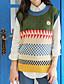 baratos Suéteres de Mulher-Feminino Padrão Colete,Para Noite Casual Moda de Rua Listrado Decote Redondo Sem Manga Algodão Primavera Outono Média Micro-Elástica