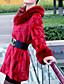 billige Kåper og trenchcoats-Fuskepels Rød Langermet,Skjortekrage Pelskåpe Ensfarget Enkel Ut på byen Dame