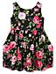 Mädchen Kleid Blumen Modisch Baumwolle Sommer Ärmellos Blumig Schleife Grün