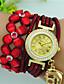 baratos Relógios de Pulseira-Mulheres Bracele Relógio Quartzo Com Strass Couro Banda Flor Boêmio Preta Azul Vermelho Marrom