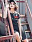 Naiset A-linja Mekko Rento/arki,Raidoitettu Pyöreä kaula-aukko Reisipituinen Lyhythihainen Puuvilla Kesä Korkea vyötärö Mikrojoustava Ohut