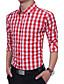 baratos Camisas Masculinas-Homens Camisa Social Casual Clássico / Fashion, Xadrez Algodão / Poliéster / Misto de Algodão Colarinho Com Botões / Manga Longa