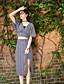 billige Todelt dress til damer-Kortermet,V-hals T-skjorte Skjørt Drakter Geometrisk mønster Sommer Moderne Daglig Avslappet Dame