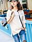cheap Women's T-shirts-Women's Going out Street chic Summer T-shirt,Letter Round Neck Short Sleeve Cotton