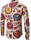 cheap Men's Shirts-Men's Daily Going out Vintage Casual All Seasons Shirt,Geometric Print Shirt Collar Long Sleeves Cotton Rayon Medium