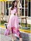 preiswerte Damen Kleider-Damen Swing Kleid-Strand Druck Einfarbig U-Ausschnitt Asymmetrisch Ärmellos Andere Sommer Mittlere Hüfthöhe Mikro-elastisch Mittel