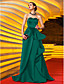billige Fest Kjoler-A-linje Kæreste Børsteslæb Satin Skolebal / Formel aften / Militærbal Kjole med Applikeret broderi Bælte / bånd Plissé ved TS Couture®