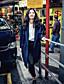 preiswerte Damenmäntel und Trenchcoats-Damen Solide Einfach Lässig/Alltäglich Trench Coat,Schal Revers Herbst Lange Ärmel Lang Andere
