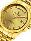 preiswerte Mechanische Uhren-Herrn Modeuhr Japanisch Automatikaufzug Kalender Wasserdicht Transparentes Ziffernblatt Nachts leuchtend Edelstahl 24k vergoldet Band