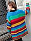 preiswerte Damen Pullover-Damen Lang Pullover-Lässig/Alltäglich Gestreift V-Ausschnitt Langarm Andere Herbst Mittel Mikro-elastisch