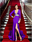 Coloană / Teacă Gât V Mătura / Trenă Tricot Seară Formală Rochie cu Detalii Cristal de TS Couture®