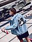 preiswerte Damen Jeansjacken-Damen Solide Druck Einfach Freizeit Alltag Jeansjacke,Hemdkragen Herbst Langärmelige Standard Polyester