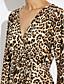 preiswerte Damen Kleider-Damen Bodycon Hülle Kleid - Gefaltet, Leopard Mini Tiefes V Hohe Hüfthöhe