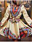 זול שמלות נשים-צווארון חולצה גיזרה גבוהה מעל הברך פסים - שמלה נדן חגים בגדי ריקוד נשים / סתיו / חורף
