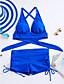 رخيصةأون ملابس السباحة والبيكيني 2017 للنساء-M L XL لون سادة, ملابس السباحة ثلاثة قطع أزرق أسود أزرق البحرية قبة مرتفعة حول الرقبة صلب مكعبات الألوان نسائي