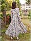 tanie Print Dresses-Damskie Puszysta Święto / Wyjściowe Moda miejska Szczupła Szyfon / Swing Sukienka - Kwiaty, Nadruk Wysoka talia Maxi