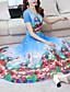 tanie Sukienki-Damskie Rozmiar plus Urlop Boho / Wyrafinowany styl Szczupła Pochwa Sukienka - Kwiaty, Nadruk W serek Midi / Wiosna / Lato