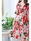 tanie Sukienki-Damskie Moda miejska / Wyrafinowany styl Flare rękawem Pochwa / Sukienka swingowa Sukienka - Kwiaty, Nadruk Midi