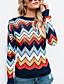billige damesweaters-Dame Daglig Stribe Farveblok Langærmet Normal Pullover, Rund hals Navyblå M / L / XL