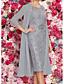 hesapli NYE Elbiseleri-Kadın's Zarif İki Parça Elbise - Solid, Dantel Diz-boyu