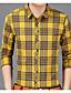 hesapli Erkek Gömlekleri-Erkek Gömlek Kırk Yama, Ekose Temel Sarı
