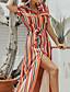 hesapli Maksi Elbiseler-Kadın's Temel Gömlek Elbise - Zıt Renkli Gökküşağı, Bölünmüş Kırk Yama Desen Maksi