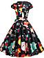 hesapli Vintage Kraliçesi-Kadın's Temel Çan Elbise - Kar Tanesi, Kırk Yama Diz-boyu Kardan Adam