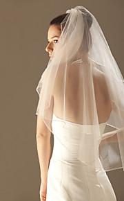 Deux couches Bord orné de perles Voiles de Mariée Voiles longueur coude Voiles pour cheveux courts Avec 33,46 dans (85cm) Tulle A-ligne,