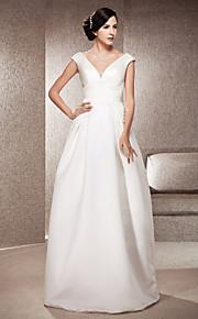 b2db9c15f7ef A-Linie Do V Na zem Satén Svatební šaty vyrobené na míru s Nabírání podle