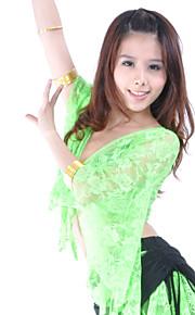 Danza del Vientre Tops Mujer Entrenamiento Encaje Encaje Manga 3/4 Cintura Baja Top
