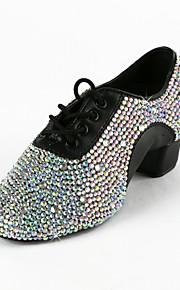 Men's Kid's Latin Practice Shoes Performance Ballroom Leatherette Heel Rhinestone Low Heel Black 1 - 1 3/4inch Non Customizable
