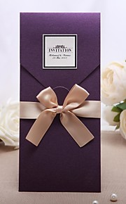 """Wrap & Pocket Wedding Invitations 20 - Invitation Cards Classic Style Pearl Paper 8 ½""""×4 ½"""" (21.5*11.5cm) Bows"""