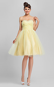 A-Line Sweetheart Neckline Knee Length Tulle Cocktail Party / Homecoming / Holiday Dress with Beading / Criss Cross by TS Couture® / Vintage Inspired