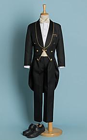 Ιβουάρ Μαύρο Πολυεστέρας Κοστούμι για Αγοράκι με Βέρες - 5 Περιλαμβάνει Σακάκι  Παντελόνι Φαρδιά Ζώνη Μέσης e16ad2e1b08