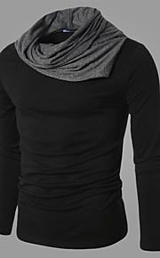 Αντρικό T-shirt Καθημερινά Μονόχρωμο,Μακρυμάνικο Βαμβάκι Πολυεστέρας