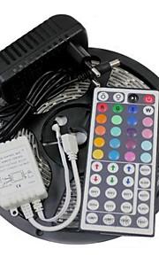 5 m RGB-Lysstriber Lyssæt Fleksible LED-lysstriber lysdioder RGB Fjernbetjening Chippable Dæmpbar Farveskiftende Selvklæbende Koblingsbar