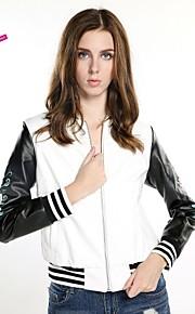 haoduoyi® Women's Sleeve Embroidery Rose Printed Baseball Style Zipper PU Leather Jacket