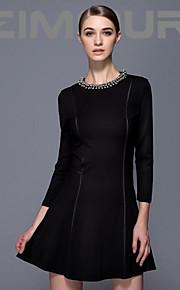 Women's Work Dress,Solid Above Knee Long Sleeve Black Fall / Winter