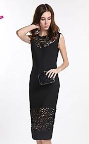 Women's Work Dress,Solid Midi Sleeveless Black Polyester Spring / Summer / Fall