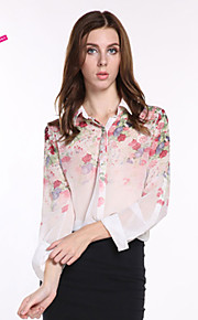 Women's Casual/Daily Simple Spring / Summer / Fall Shirt,Floral Long Sleeve Multi-color Polyester Sheer / Thin