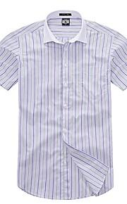 قطن قميص الأعمال التجارية مخطط / منقوش, عمل / كم قصير