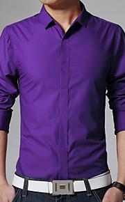 Муж. Офис Классический Рубашка Хлопок, Классический воротник Тонкие Деловые Однотонный Синий L / Длинный рукав