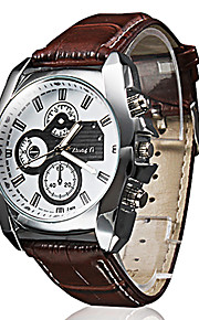 남성용 손목 시계 석영 퀼트 인조 가죽 블랙 / 브라운 캐쥬얼 시계 아날로그 클래식 캐쥬얼 - 블랙 브라운