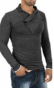 Ανδρικά Καθημερινό / Γραφείο / Επίσημο / Αθλητικό Βαμβάκι / Ελαστικό Απλό Μακρυμάνικο T-shirt-Μαύρο / Γκρι