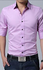 Муж. Офис Большие размеры - Рубашка Хлопок, Классический воротник Деловые Однотонный Серый XL / Длинный рукав / Весна / Осень